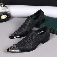 Chic Mens Metal Pointed Toe Leather Business Formal Dress Slip On Shoes Loafers