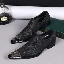 Men's Metal Pointed Toe Leather Business Formal Dress Slip On Shoes Loafers Size