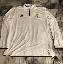 adidas NCAA Men's Arizona State Sun Devils  Team Logo 1/4 Zip Pullover, White XL