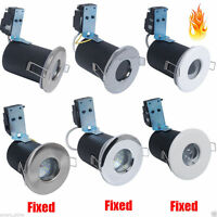 1/4x Fixed/Tilt LED GU10 Mains Recessed Ceiling Light Fire Rated /IP65 Bathroom
