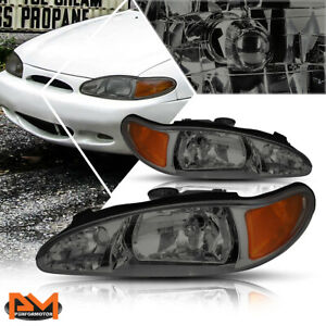 For 97-02 Ford Escort 4-Dr Headlight/lamps Replacement Smoked Housing Amber Side