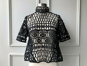 country road : mock neck lace cropped top black size: XS.S.XL new $139  8.10.16