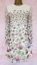 TED BAKER ~Thistle Print ~ Dress UK 12 3 ~Wedding~ Cream Floral Long Sleeves