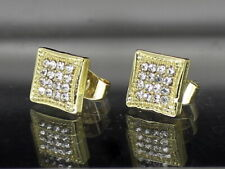 Gold Plated Hip Hop Stainless Steel Men Women Earrings Square Iced 8mm Studs
