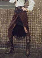Steampunk Victorian Burlesque Half Length Black and Brown Skirt
