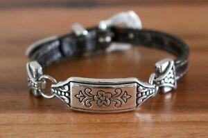 Brighton Brown Leather Silver Flower Buckle Bracelet