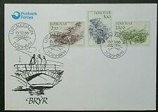 Faroe Islands 1986 Bridges Set on First Day Cover.