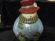 Grassland Road  Adorable Ceramic Holiday Snowman Cookie Jar  12x11