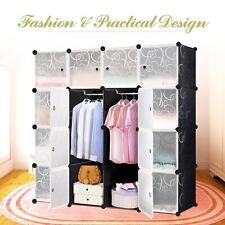 DIY Clothes Closet Wardrobe Cabinet 16 Cubes Storage Cabinet Organizer US J5W5