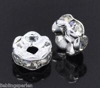 90 Versilbert Strass Spacer Perlen Beads Zwischenteil Für Schmuck DIY 5mm D.