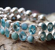 Design Massiv Silber Armband 18 - 23 cm Schlicht Unikat Larimar Blautopas Türkis