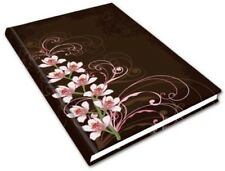 """Blank Journal 200 PGS Piccadilly MEDIUM 8.25""""x5.75"""" Hardcover Brown w/ Orchids"""