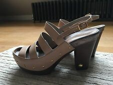 Marc Jacobs Sandals Nude Sling back heels/wooden Clogs 39 Exc Cond