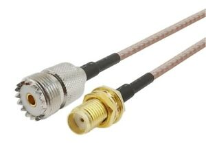 UHF PL259 SO239 Female to SMA Female Extension Pigtail RG316 15cm           431