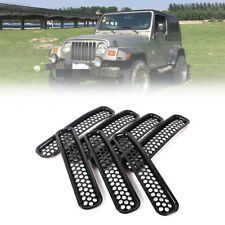7pcs Front Grille Cover Insert Mesh Grill Shell For 1997-2006 Jeep Wrangler TJ L