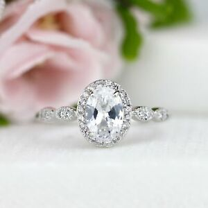 1ct Oval Cut Halo Engagement Wedding Ring 925 Silver Promise Anniversary