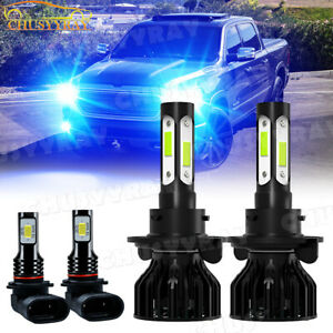 For 2006 2007 08 Dodge Ram 1500 2500 3500 4X 8000K LED Headlight Fog Light Bulbs
