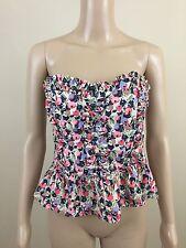 H&M Women's Strapless Shirt Floral Fruit Pattern Ruffles Peplum Sz 10
