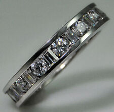 4 ct tw Eternity Ring Simulant Imitation Moissanite Sterling Silver Size 4