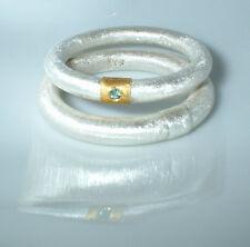 Partnerringe, Eheringe, Silber,Gold 750, blauer Diamant,  Flamere Design