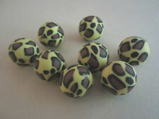 Yellow Black Brown Leopard Animal Print Fimo Clay Beads 18mm 10pc