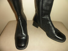 Sioux Luftpolster black leather/stretch fabric ankle boots-9.5-10 Extra Wide US