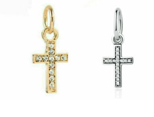 2 RHINESTONE SILVER PLATED CROSS PENDANT SILVER COLOR AND GOLD COLOR CROSSES