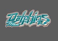 Miami Dolphins Graffiti Vinyl Decal 8x3