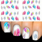 5 Sheets Feather Fashion Nail Art Stickers Water Transfer Multi-color Decal CUB