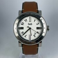 Dolce & Gabbana Mens Stainless Steel Brown Leather Band Quartz Watch