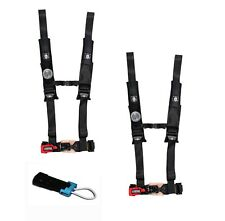 "Pro Armor 4 Point Harness 2"" Pads Seat Belt PAIR BYPASS BLACK Commander Maverick"