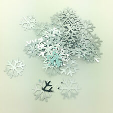 100pcs 20mm Silver Christmas Snowflake Loose Sequins Paillettes Sewing Craft