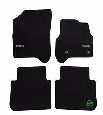 LOGO Fully Tailored black floor car mats fits CITROEN C3 PICASSO mk1 2009-16 4pc