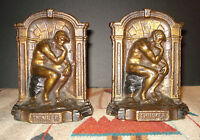 """Vintage Cast Iron """"Thinker"""" Bronze Tone Bookends 5 1/2 X 4 Over 5lbs. PAIR"""