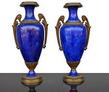 urnes fin XIxème en faïence bleue montée bronze