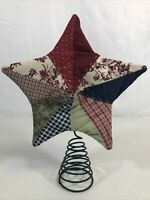 """Vintage Hand Sewn Country Patchwork Star Christmas Tree Topper 12"""" Tall"""