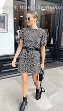 TOPSHOP Black And White Animal Print Tea Mini Dress Sizes UK 6_8_10_12_14_16