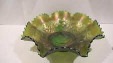 NORTHWOOD Carnival Wishbone Ruffled Collar Base Bowl Green mfg 1911-1915