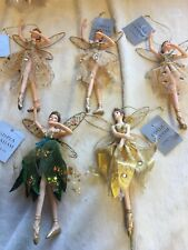 5 x Gisela Graham Gold Fairy Christmas Tree Hanging Decorations Ornaments -788