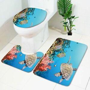 3pcs/set Ocean World Non Slip Bathroom Pad Floor Mat Carpet Absorbent Bath Mat