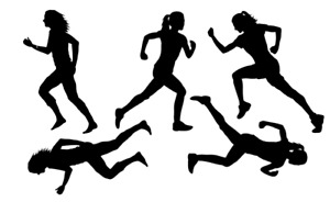 Runners Running Women Silhouette Printed on A5 Edible Icing Sheet - Not pre-cut