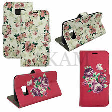 Floral Design PU Leather Book Wallet Flip Case Cover For Samsung Galaxy S7 G930F