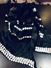 Vintage Black Silky Velvet Shawl Wrap White Sequins