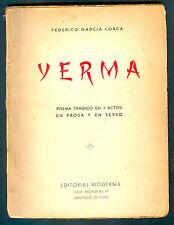 YERMA BOOK FEDERICO GARCIA LORCA EDITORIAL MODERNA DE CHILE