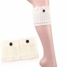 Womens Winter Leg Warmer Cuff Soft Crochet Over Knee Ankle Legging Socks Boots