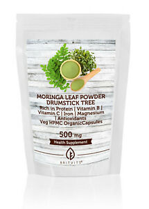 Moringa Leaf Powder Veg HPMC Organic 500mg x 120 Capsules Pills