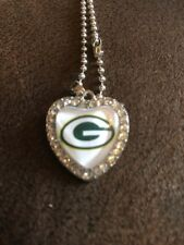 GREEN BAY PACKERS Heart Shaped Crystal Beaded Pendant Necklace 50cm Chain NFL