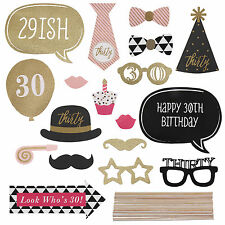 20pcs 30th Birthday Pink Gold Party Photo Booth Props Favour Kit DIY Fun