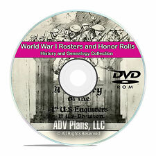 World War I WWI Rosters and Honor Rolls, Service Records, 56 books on DVD CD V85