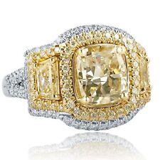 5 Carat Cushion Cut Trapezoid Side Diamond Engagement Halo Ring 18k White Gold